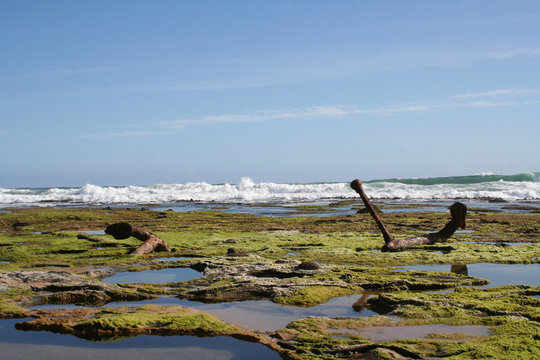 Wreck Beach and Marie Gabrielle Anchor at Great Otway National Park,  Great Ocean Road, Victoria, Australia
