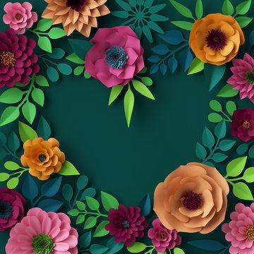 3d render, digital illustration, colorful paper flowers wallpaper, spring summer background