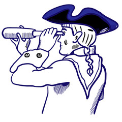 Brave captain in tricorn hat, scarf, uniform with telescope. Marine officer portrait for design, scrapbooking, prints, posters, surface, covers. Man looks into the distance. BLack, blue colors sketch