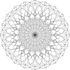 Abstract mandala shape. Decorative pattern in circle. Ethnic ornament. Coloring book page for adults