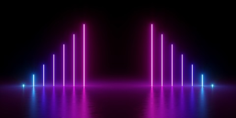 3d render, abstract minimal background, glowing lines triangle, arrow, chart, pink neon lights, ultraviolet spectrum, virtual reality, laser show