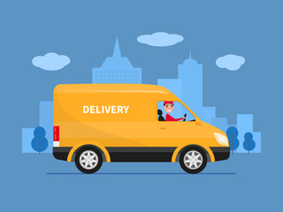 Papiers peints Cartoon voitures Vector cartoon delivery van with deliveryman