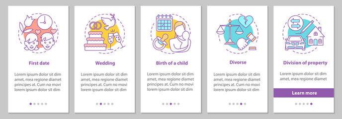Relationships development onboarding mobile app page screen with