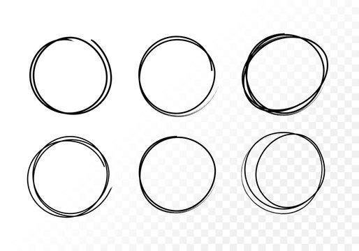 Vector set hand drawn circles using sketch drawing scribble circle lines. Doodle circular logo design elements.