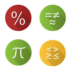 Mathematics flat design long shadow glyph icons set