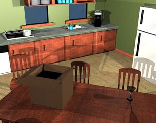 Küche mit Möbeln und Ratte
