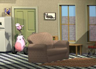 Küche mit Möbeln und Cartoon Figuren