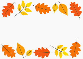 Autumn leaves border background