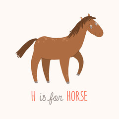 Cartoon brown horse. H is for Horse. Cartoon vector hand drawn eps 10 childrens illustration isolated on white background.