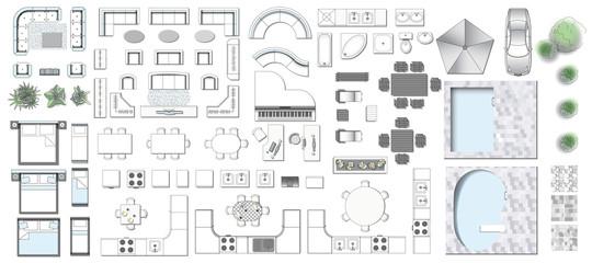 Set top view for interior icon design. Elements for living room, bedroom, kitchen, bathroom. Floor plan. Furniture store. Vector Illustration.