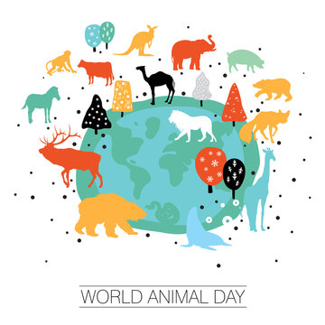 An abstract vector illustration of World Animal day on a white isolated background