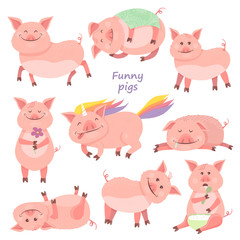 Set of Funny Piggy symbol 2019 new year. Piglet smiles, sits, lies, eats porridge, sleeps, pig unicorn.