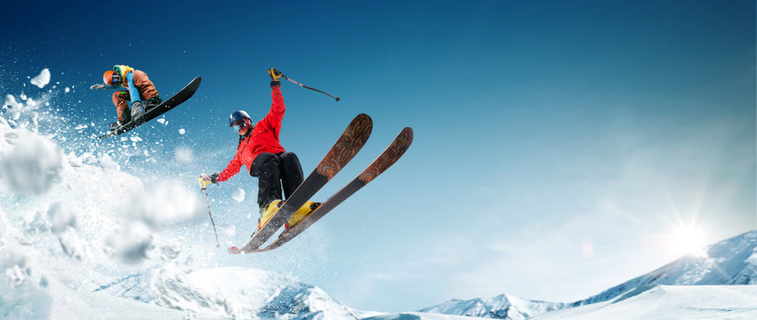Skiing. Snowboarding. Extreme winter sports