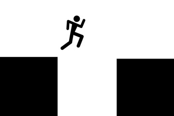 Parkour and free run - symbol of male is jumping over gap between buildings in urban space. Vault on teh roof. Vector illustration