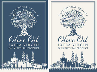 Vector banner or label for extra virgin olive oil with olive tree, calligraphic inscription and with Italian countryside landscape in retro style.