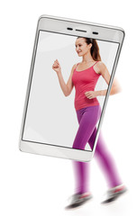 Fit healthy smiling woman jogging on white background, concept of image quality. freezing moving objects in the camera smartphone