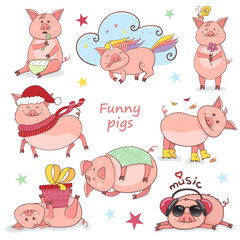 Set of Funny Piggy symbol 2019 new year in doodle style. Piglet listens to music, eats, sleeps, holds a gift, in a Christmas hat. Piglet unicorn