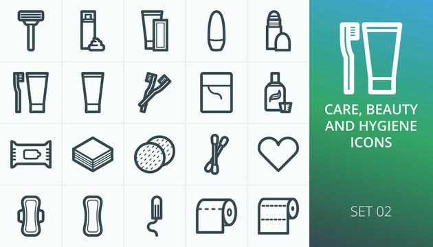 Hygiene and personal care products set icons. Set of razor, shaving foam, depilation strips, deodorant, oral care, feminine pads and tampon isolated vector icons