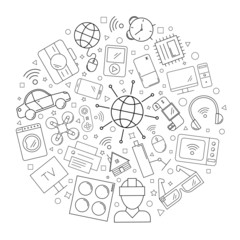 Internet of things circle background from line icon. Linear vector pattern. Vector illustration