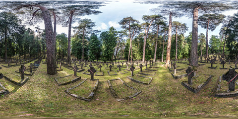 Full seamless 360 angle degree view panorama in graves of cemetery Polish soldiers died for independence in First World War in equirectangular spherical projection.