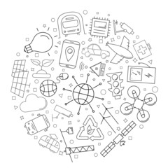 Smart city circle background from line icon. Linear vector pattern. Vector illustration