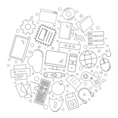 Computer circle background from line icon. Linear vector pattern. Vector illustration