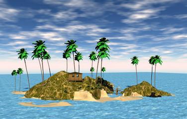 Südseeinsel mit Palmen und Hängebrücke