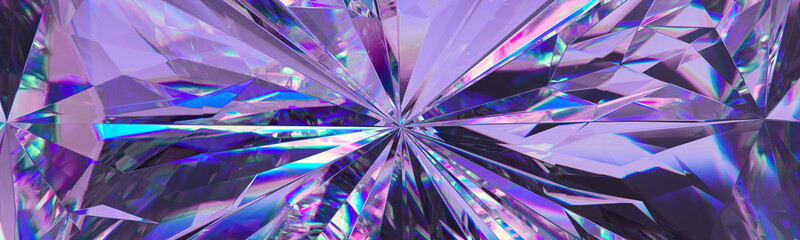 Photo sur Plexiglas Macro photographie 3d render, abstract amethyst crystal background, faceted texture, purple gem macro, panorama, wide panoramic polygonal wallpaper