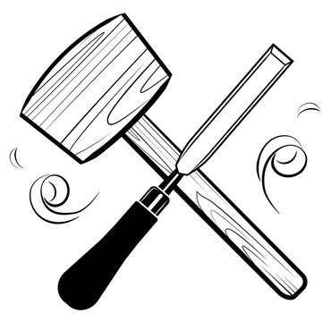 Woodworking and carpentry tools emblem logo vector. Mallet and chisel