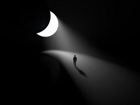 man walking on a lunar path