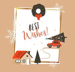 Hand drawn vector abstract Merry Christmas and Happy New Year time vintage cartoon illustrations greeting card template with red car and Xmas tree isolated on white background