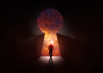 Man in front of open door with universe behind