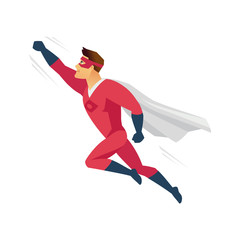 Flying superhero - modern cartoon people character illustration