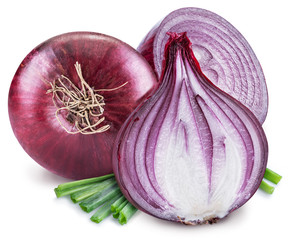 Red onion bulb and cross sections of onion on the white background.