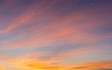 Panorama of Sunset sky with amazing colors