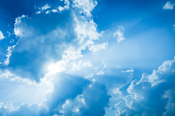 White fluffy clouds on a blue sky