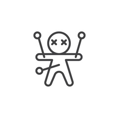 Voodoo doll outline icon. linear style sign for mobile concept and web design. halloween doll simple line vector icon. Black magic symbol, logo illustration. Pixel perfect vector graphics