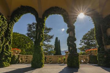 Terrace at Villa del Balbianello, one of Star Wars film locations, in Lenno, Como lake, Italy.