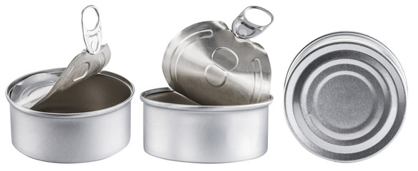 Three tin cans. File contains clipping path.