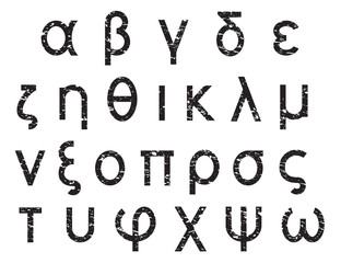 Greek alphabet grunge letters, font set, black isolated on white background, vector illustration.