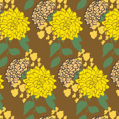 Yellow flower pattern. Vector illustration.