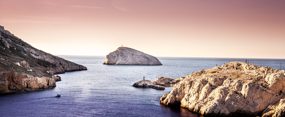 Seascape during sunset at Mediterranean sea, Marseille, France