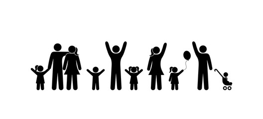 people stand, family man, woman, child, children raised their hands up, stick figure person, icon silhouette human, symbol man, pictogram