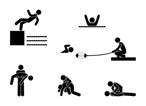 man saves a drowning man, stick figure pictogram swimming, human silhouette, isolated symbol, icon set, first aid to the victim in the water
