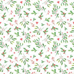 watercolor christmas plants seamless pattern