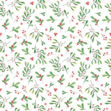 watercolor christmas plants seamless pattern