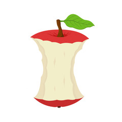 Vector cartoon stub of apple. Garbage of fruit