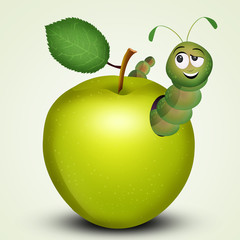illustration of caterpillarsin the apple