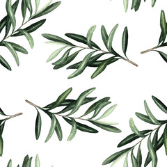 Watercolor seamless pattern with olives leaves braunches