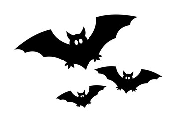 Three flying bats with glowing eyes / Vector-Icon-Set, black